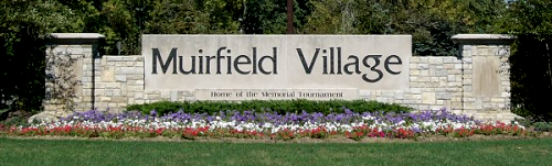 Muirfield Village Dublin Ohio sign at the entrance to this unique golf course community & home of the Memorial Tournament
